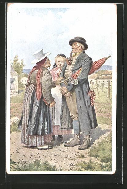 Künstler-AK Alois Greil: altes Paar in Tracht am Heimweg von der Kirche