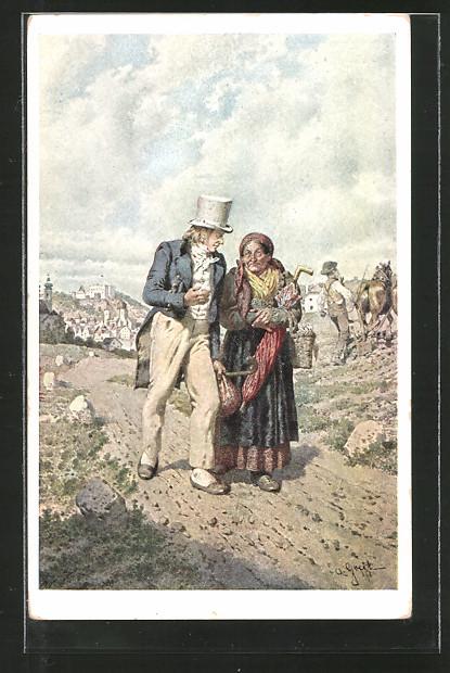 Künstler-AK Alois Greil: Franz Stelzhamer mit seiner Mutter