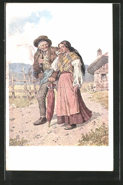 Künstler-AK Alois Greil: altes Bauernpaar in Tracht beim Kirchgang