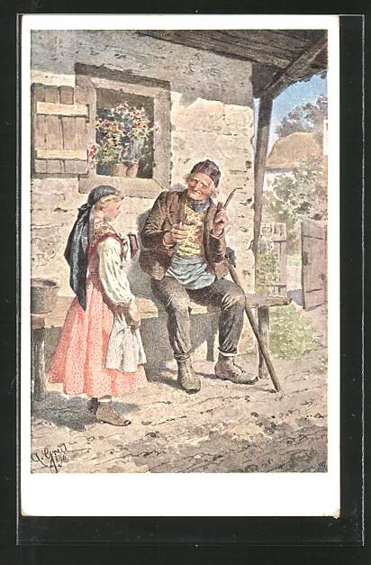 Künstler-AK Alois Greil: Grossvater und Enkelin in Tracht