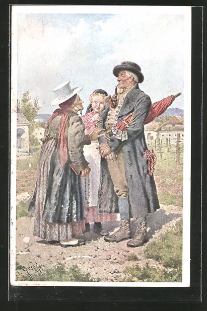 Künstler-AK Alois Greil: am Heimweg von der Kirche, altes Paar mit ihrer Enkelin in Tracht