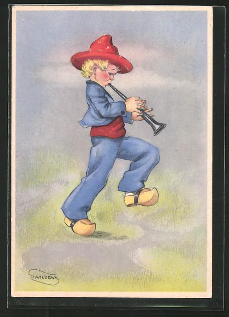Künstler-AK Swildens: Knabe mit Flöte