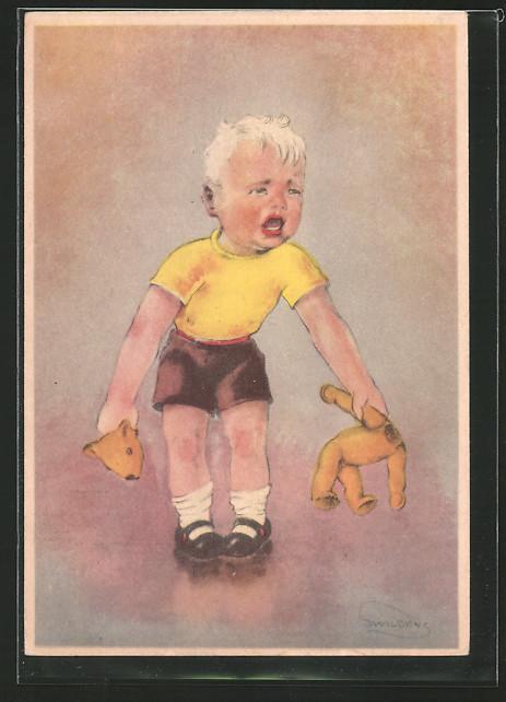 Künstler-AK Swildens: Knabe mit kaputtem Teddy