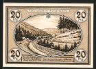 Notgeld St�tzerbach, 1921, 20 Pfennig, Zahnradbahn, Bergbahn, Glash�tte, Glasbl�ser