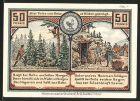 Notgeld Roda, 1921, 50 Pfennig, Karl August jagd Auerhahn, Goethe am Bergwerk, alte Nagelschmiede