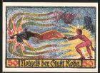 Notgeld Roda, 1921, 50 Pfennig, Teufel hat Frau in seinem Bann, Wappen
