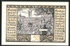 Notgeld Rieder, 1921, 50 Pfennig, R�uber wird zum Tode verurteilt, Bauer mit Pferdepflug