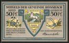 Notgeld Rossbach, 50 Pfennig, Portrait Friedrich der Grosse, Wappen