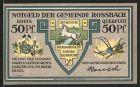 Notgeld Rossbach, 50 Pfennig, Wappen, Siegesdenkmal zur Erinnerung an die Schlacht von 1757