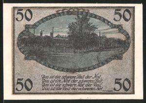 Notgeld Schnelsen, 50 Pfennig, Strassenpartie im Ort, Gebäudeansicht, Bauer mit Kalb