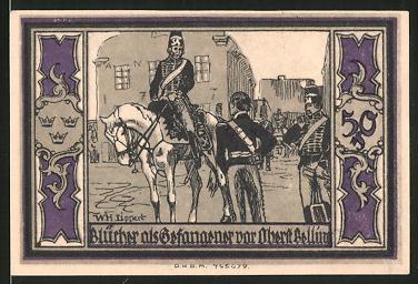 Notgeld Stolp, 50 Pfennig, Fürst Blücher von Wallfahrt, Blücher als Gefangener