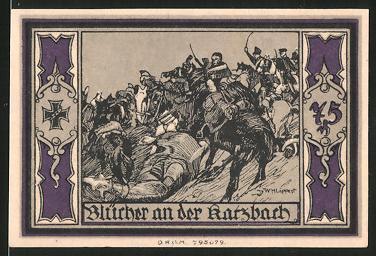 Notgeld Stolp, 75 Pfennig, Fürst Blücher von Wahlstatt, Blücher an der Harzbach