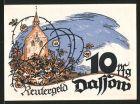 Notgeld Dassow, 1922, 10 Pfennig, Kirche, M�wen & Segelschiff