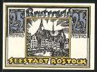 Notgeld Rostock, 1922, 25 Pfennig, Marktplatz und umliegende Geb�ude, Ortsansicht
