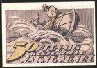 Notgeld Warnem�nde, 1922, 50 Pfennig, Fischer im Boot bei st�rmischer See, B�rger auf der Mole