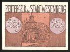 Notgeld Wesenberg, 1922, 25 Pfennig, Kirche, Strassenpartie