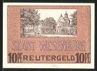 Notgeld Wesenberg, 1922, 10 Pfennig, Partie im Ort mit Kirche, Ortsansicht
