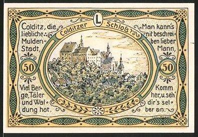 Notgeld Colditz, 1921, 50 Pfennig, Ortswappen, Blick aufs Schloss