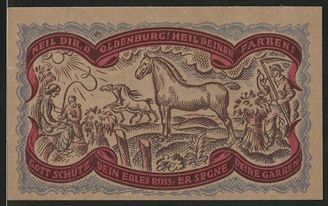 Notgeld Oldenburg, 1921, 50 Pfennig, Bauer mit Sense & Pferden, Wappen