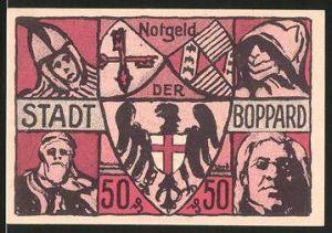 Notgeld Boppard, 1921, 50 Pfennig, Wappen, Siegel der Stadt