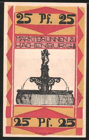 Notgeld Hachenburg 1921 25 Pfennig Marktbrunnen Wappen