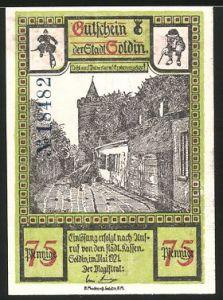 notgeld soldin 1921 75 pfennig strassenpartie ortspartie mit denkmal. Black Bedroom Furniture Sets. Home Design Ideas