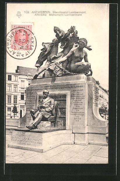 AK Anvers / Antwerpen, Standbeeld Lambermont, Monument Lambermont