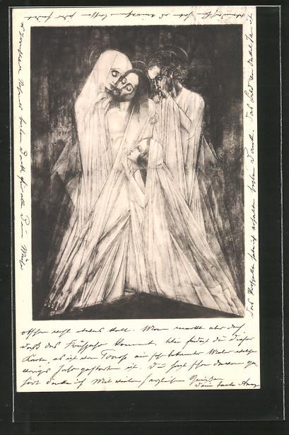 Künstler-AK Jan Toorop: Pieta, Christus und Heilige