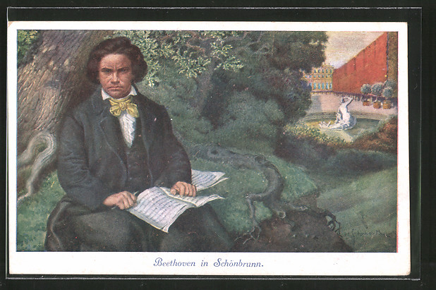 Künstler-AK H. Schubert: Wien, Komponist Ludwig van Beethoven im Park des Schloss Schönbrunn