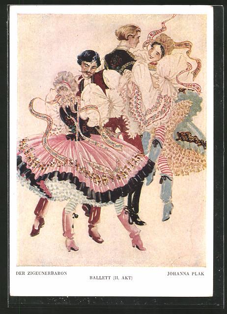 Künstler-AK Operette Der Zigeunerbaron, Ballett 2. Akt
