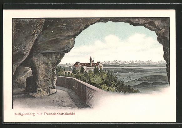 Künstler-AK Eugen Felle: Heiligenberg, Blick zum Ort mit Freundschaftshöhle