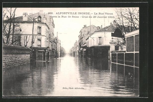 Ak alfortville inondation 1910 la rue v ron pr s la rue for Garage alfortville rue veron