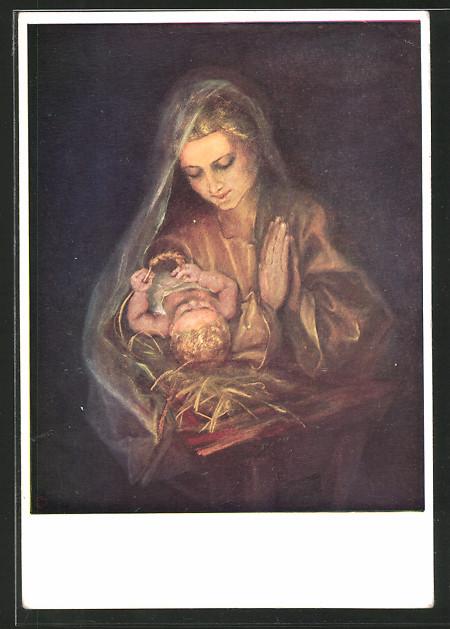 Künstler-AK Maria Spötl: Versunken, Maria mit dem Jesuskind