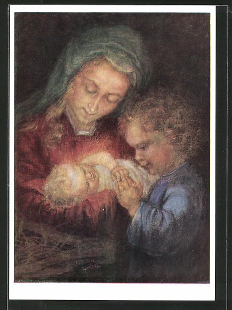 Künstler-AK Maria Spötl: Sei gegrüsst o Kindlein, Geburt Jesu Christu