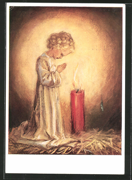 Künstler-AK Maria Spötl: VMS, Kind betet vor Kerze