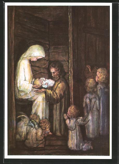 Künstler-AK Maria Spötl: Die erste Weihnacht, Kinder bei der heiligen Familie