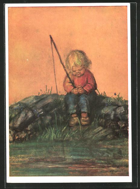 Künstler-AK Maria Spötl: Anglers Glück