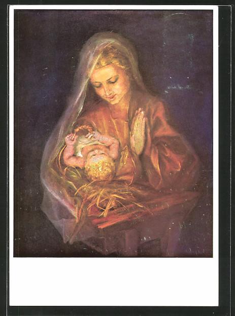 Künstler-AK Maria Spötl: Versunken, Maria und das Jesuskind