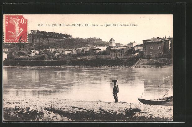 AK Les Roches-de-Condrieu, quai du château d'eau