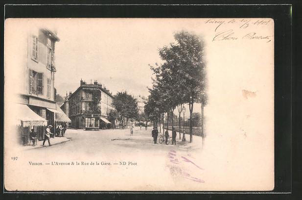 AK Voiron, l'avenue & la Rue de la Gare
