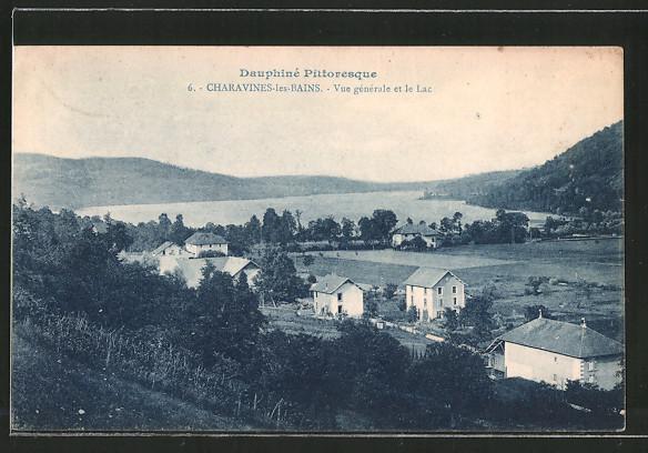 AK Charavines-les-Bains, vue générale et le lac