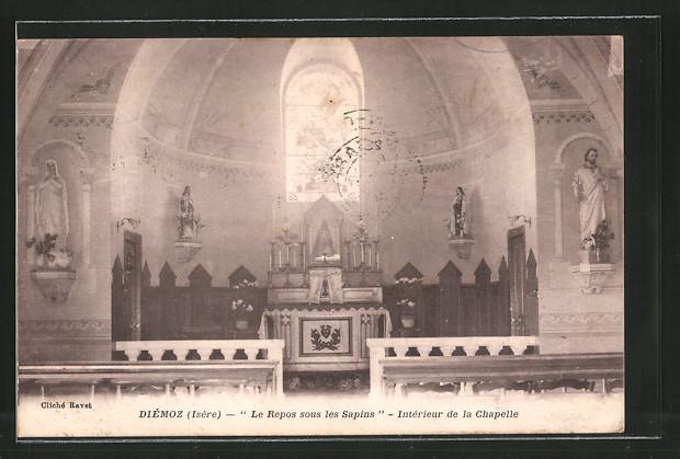 AK Diémoz, le repos sous les Sapins, intérieur de la chapelle