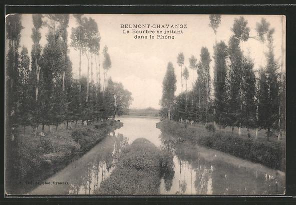 AK Belmont-Chavanoz, la Bourbre se jettant dans le Rhône