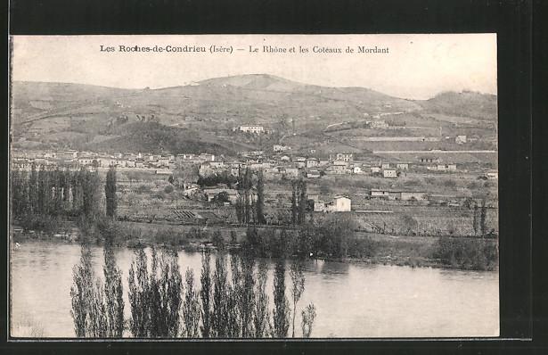 AK Les Roches-de-Condrieu, le Rhône et les coteaux de Mordant