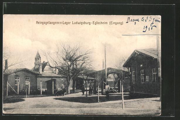 AK Ludwigsburg-Eglosheim, Kriegsgefangenen-Lager, Eingang