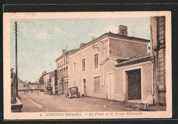 AK Gironde, la Poste et la Route Nationale
