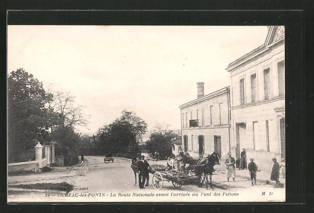 AK Cubzac-les-Ponts, La route nationale avant l'arrivée au pont des Piétons, Pferdegespann