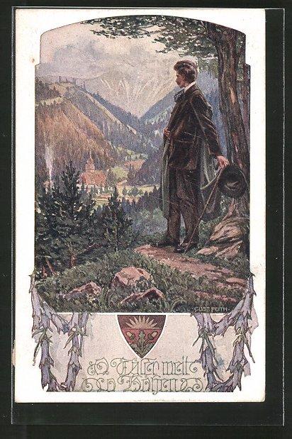 AK Deutscher Schulverein NR.1044: Wanderer blickt ins Tal
