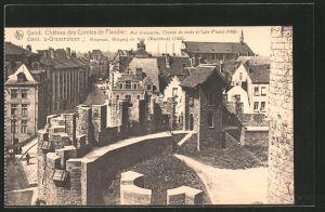 AK Gand, château des Comtes de Flandre, mur d'enceinte, chemin de ronde et Cuve