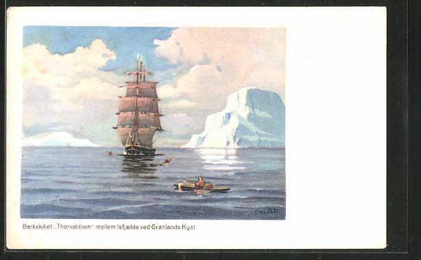 Künstler-AK Grönland, Barkskibet